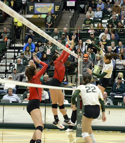 Colorado State middle Paulina Hougaard-Jensen delivers a kill during Saturday's match with UNLV at Moby Arena.