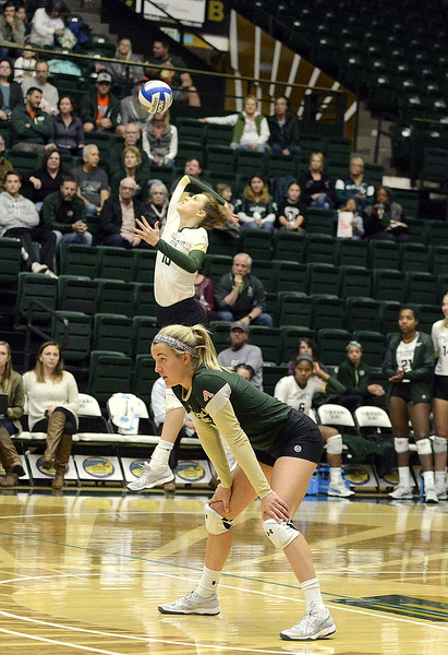Colorado State's Sanja Cizmic serves during Saturday's match against UNLV at Moby Arena.