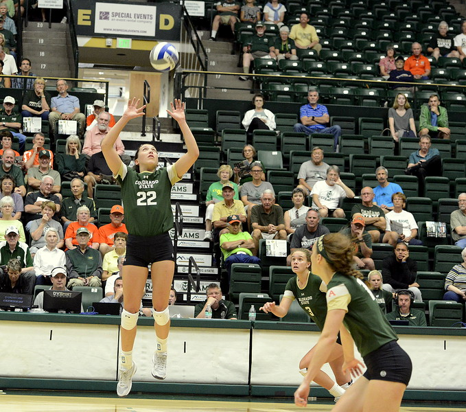 Colorado State's Sanja Cizmic (front) and Olivia Nicholson move into position as setter Katie Oleksak prepares to deliver a set during Friday's match with Ball State at Moby Arena in Fort Collins.