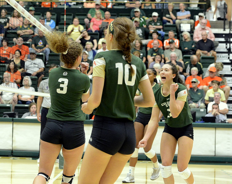 Colorado State's volleyball team celebrates a point during Friday's match with Ball State at Moby Arena in Fort Collins.