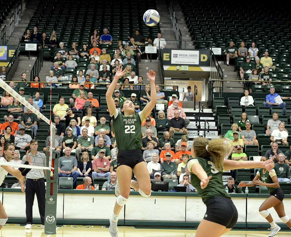 Setter Katie Oleksak gets up for a set to Olivia Nicholson during Friday's match with Ball State at Moby Arena in Fort Collins.