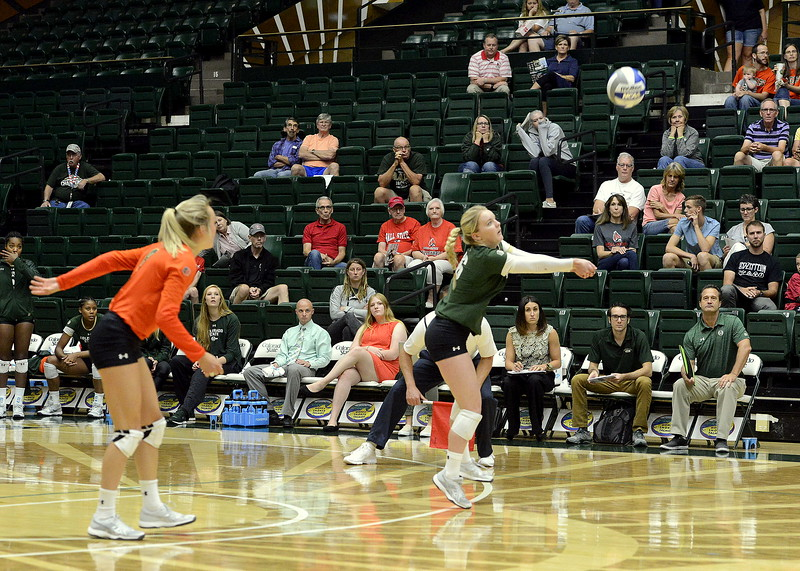 Colorado State's Maddi Foutz delivers a pass off serve receive during Friday's match with Ball State at Moby Arena in Fort Collins.