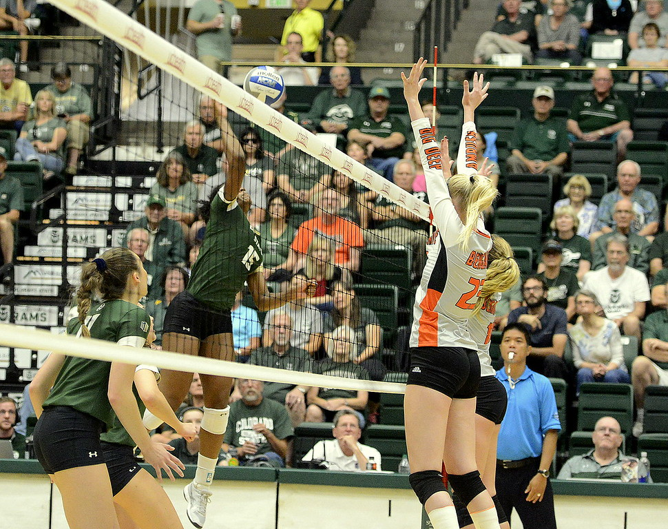 . Colorado State outside hitter Breana Runnels delivers a kill during the No. 25 Rams\' Sunday sweep of Idaho State at Moby Arena in Fort Collins.