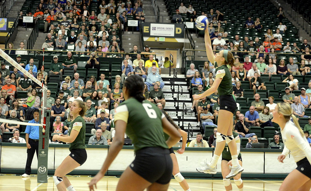 . Colorado State\'s Sanja Cizmic delivers a back-row attack during the No. 25 Rams\' Sunday sweep of Idaho State at Moby Arena in Fort Collins.