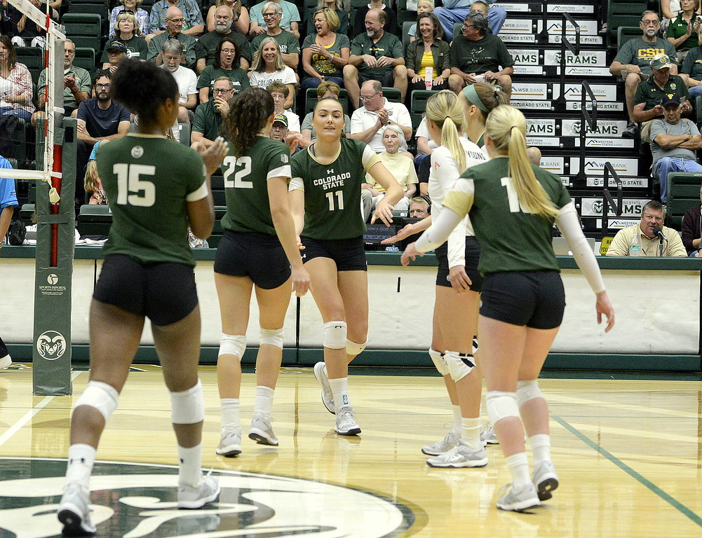 . Colorado State\'s players come together to congratulate Paulina Hougaard-Jensen on a kill during the No. 25 Rams\' sweep Sunday of Idaho State at Moby Arena in Fort Collins.