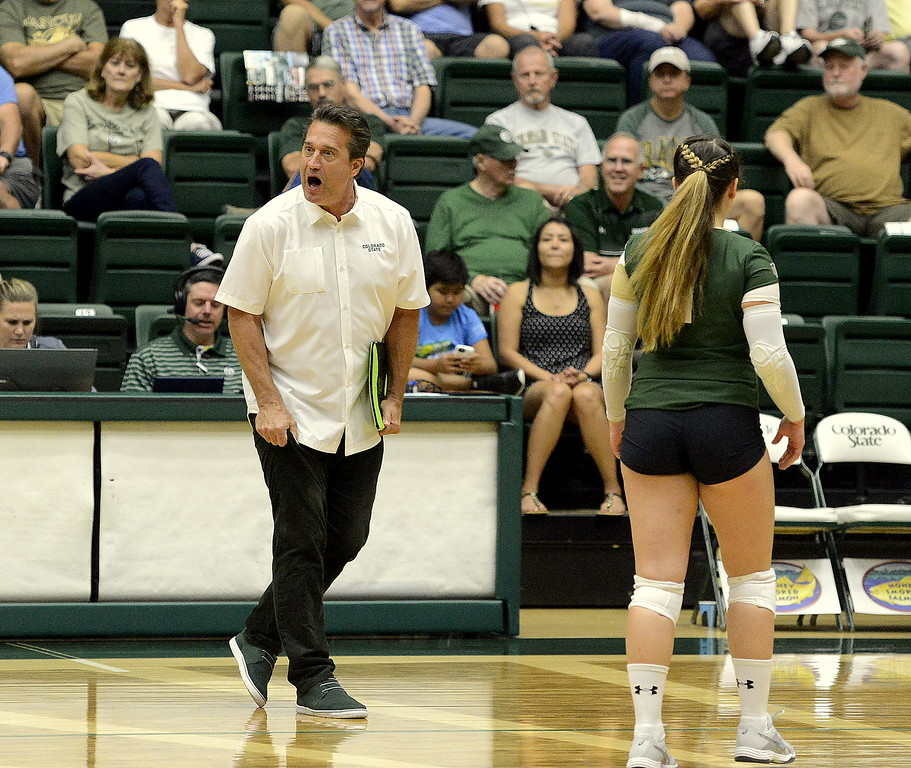 . Colorado State coach Tom Hilbert calls timeout in the first set with his team in a lull during the No. 25 Rams\' Sunday sweep of Idaho State at Moby Arena in Fort Collins.