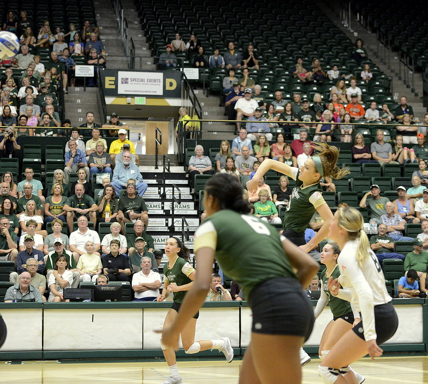 . Colorado State opposite hitter Sanja Cizmic follows through on a back-row attack during the No. 25 Rams\' Sunday sweep of Idaho State at Moby Arena in Fort Collins.