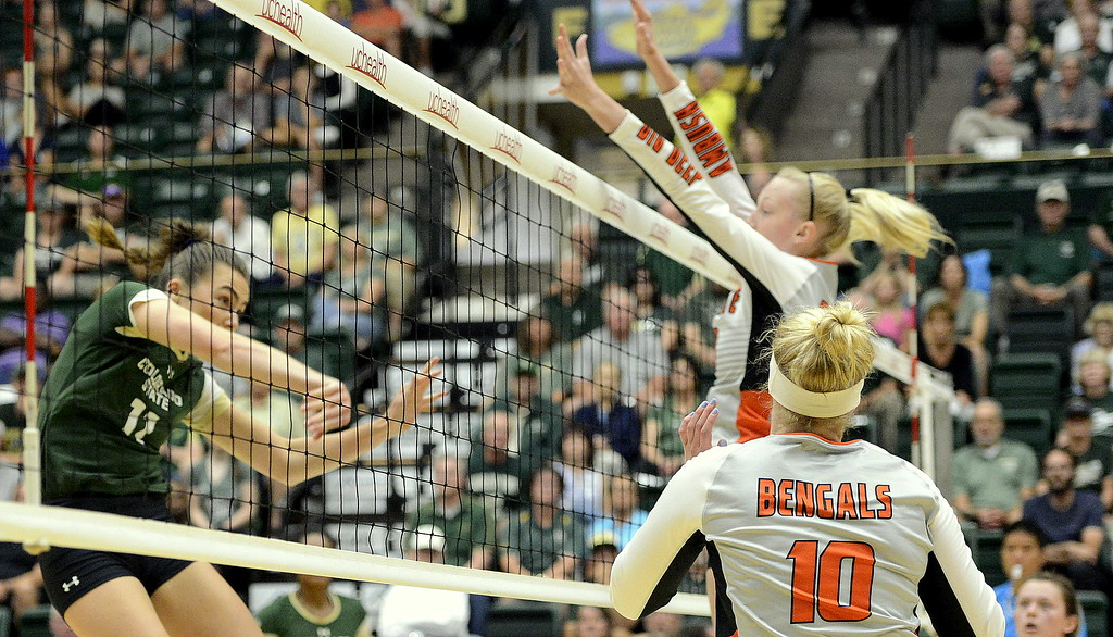 . Colorado State middle blocker Paulina Hougaard-Jensen eyes her attack for a kill during the No. 25 Rams\' Sunday sweep of Idaho State at Moby Arena in Fort Collins.