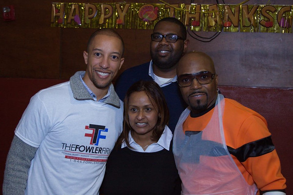 Guests, Shanti Das and Teddy Riley at the 'No Reservations Needed' Thanksgiving Dinner