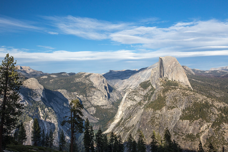 Half Dome from Glacier Point.  Half Dome is a granite dome located at the eastern end of Yosemite Valley — possibly Yosemite's most familiar rock formation. The granite crest rises more than 4,737 ft (1,444 m) above the valley floor. Yosemite National Park.  California.