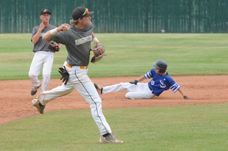 NoCo Roughnecks shortstop Bryce Shirley throws over to first during his team's Boulder NIT game Wednesday at Fairview High School in Boulder.