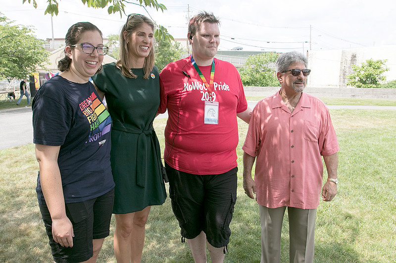 The first North Worcester Country (NoWoCo) Pride Festival was held on Saturday, July 20, 2019 at Riverfront Park in Fitchburg. From left at the festival is State Rep. Natalie Higgins, US Congresswoman Lori Trahan, President of NoWoCo and organizer and of the event Anthony Bovenzi and Fitchburg Mayor Stephen DiNatale. SENTINEL & ENTERPRISE/JOHN LOVE