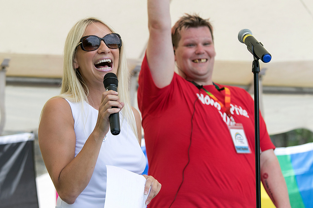 . The first North Worcester Country (NoWoCo) Pride Festival was held on Saturday, July 20, 2019 at Riverfront Park in Fitchburg. City Councilor Sam Squailia addresses the crowd at the event. Right behind her is President of NoWoCo Pride Anthony Bovenzi. SENTINEL & ENTERPRISE/JOHN LOVE