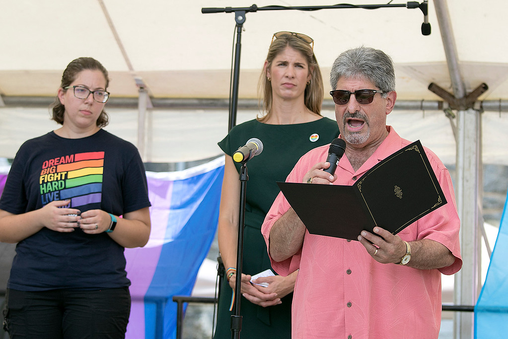 . The first North Worcester Country (NoWoCo) Pride Festival was held on Saturday, July 20, 2019 at Riverfront Park in Fitchburg. Mayor Stephen DiNatale reads a proclamation from the city during the event right behind him is State Rep. Natalie Higgins and US Congresswoman Lori Trahan. SENTINEL & ENTERPRISE/JOHN LOVE