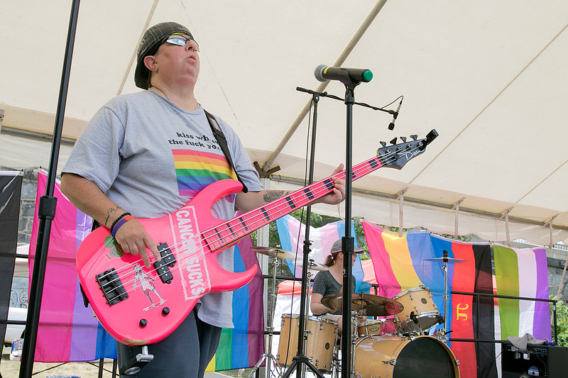 "The first North Worcester Country (NoWoCo) Pride Festival was held on Saturday, July 20, 2019 at Riverfront Park in Fitchburg. Debbie Spaulding plays a pink guitar with the band ""Just Saying"" as they entertain the crowd. SENTINEL & ENTERPRISE/JOHN LOVE"
