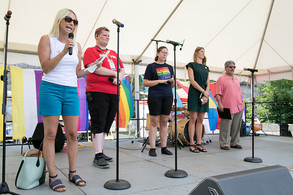 . The first North Worcester Country (NoWoCo) Pride Festival was held on Saturday, July 20, 2019 at Riverfront Park in Fitchburg. Local and state officals address the crowd during the event. SENTINEL & ENTERPRISE/JOHN LOVE