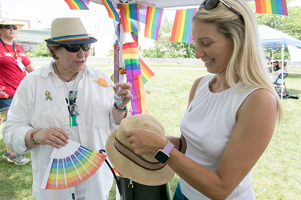 . The first North Worcester Country (NoWoCo) Pride Festival was held on Saturday, July 20, 2019 at Riverfront Park in Fitchburg. Kim Dawkins of the Worcester\'s Pathway for Change, a local rape crisis center, talks to City Councilor Sam Squailia at the event. SENTINEL & ENTERPRISE/JOHN LOVE