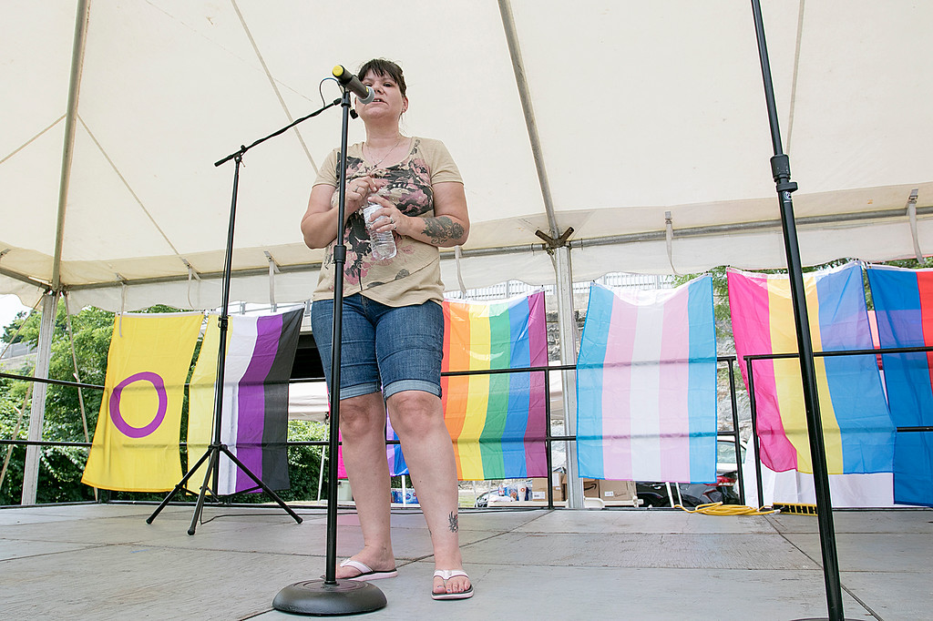 . The first North Worcester Country (NoWoCo) Pride Festival was held on Saturday, July 20, 2019 at Riverfront Park in Fitchburg. Entertaining the crowds with some songs is Jessie Spinelli of Leominster. SENTINEL & ENTERPRISE/JOHN LOVE
