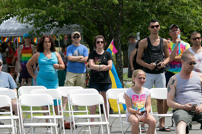 The first North Worcester Country (NoWoCo) Pride Festival was held on Saturday, July 20, 2019 at Riverfront Park in Fitchburg. Many at the festival listen to the speakers. SENTINEL & ENTERPRISE/JOHN LOVE