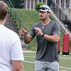 Noah Gray gives some tips during his Football Clinic held at Doyle Field in Leominster on Friday June, 25, 2021. SENTINEL & ENTERPRISE/JOHN LOVE
