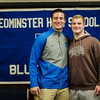 Noah Gray made his collegiate choice official at Leominster High School by signing his national letter of intent to play Division 1 football at Duke University on Wednesday, February 1, 2017. Gray poses for photos with teammate Anthony Dandini during the gathering. SENTINEL & ENTERPRISE / Ashley Green