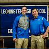 Noah Gray made his collegiate choice official at Leominster High School by signing his national letter of intent to play Division 1 football at Duke University on Wednesday, February 1, 2017. Gray poses for photos with Coach Dave Palazzi during the gathering. SENTINEL & ENTERPRISE / Ashley Green