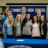 Noah Gray made his collegiate choice official at Leominster High School by signing his national letter of intent to play Division 1 football at Duke University on Wednesday, February 1, 2017. Gray poses for photos with family, faculty and teammates during the gathering. SENTINEL & ENTERPRISE / Ashley Green