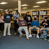 Noah Gray made his collegiate choice official at Leominster High School by signing his national letter of intent to play Division 1 football at Duke University on Wednesday, February 1, 2017. Gray's friends and teammates take photos on their cell phones during the gathering. SENTINEL & ENTERPRISE / Ashley Green