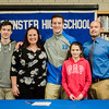 Noah Gray made his collegiate choice official at Leominster High School by signing his national letter of intent to play Division 1 football at Duke University on Wednesday, February 1, 2017. Gray poses for photos with brother Asher, mom Meagan, sister Hannah and father Jason during the gathering. SENTINEL & ENTERPRISE / Ashley Green