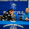 Noah Gray made his collegiate choice official at Leominster High School by signing his national letter of intent to play Division 1 football at Duke University on Wednesday, February 1, 2017. Gray, surrounded by parents Meagan and Jason, thanks family, teammates and faculty during the gathering. SENTINEL & ENTERPRISE / Ashley Green