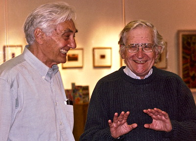 04.09.27 Noam Chomsky and Howard Zinn at Bunker Hill Community College in Boston