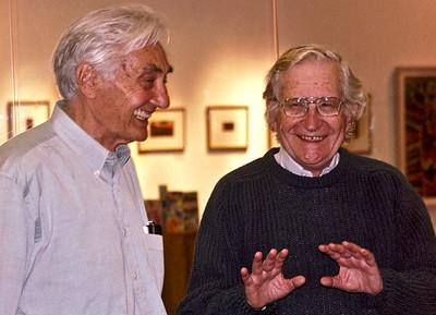 04.09.27 Noam Chomsky and Howard Zinn at Bunker Hill Community College in Boston
