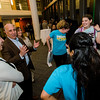 President Richard Lapidus speaks to the dance club after they performed a flash mob during 'Noche Caliente' at Fitchburg State on Wednesday evening. The night was to promote local Fitchburg restaurants and brings campus clubs and organizations together. SENTINEL & ENTERPRISE / Ashley Green