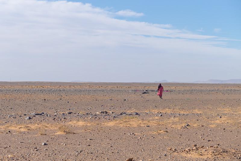 Nomad Woman in Stony Desert