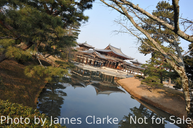 Byodoin Temple, from the Garden.<br /> It is a condition of entry of Bydoin Temple that any photos taken there are not used for commercial purposes. The funny thing is: an image of this temple is on the 10 yen coin, and that's being used for commercial purposes every day.