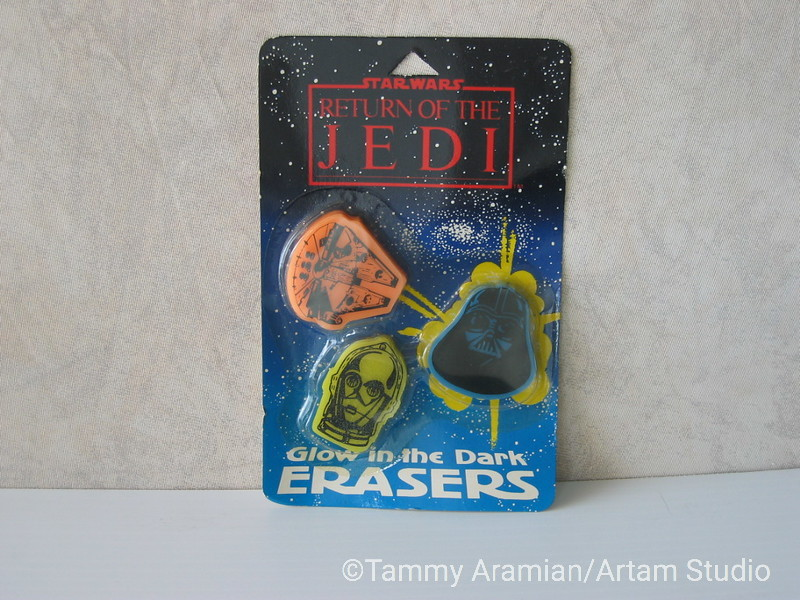 1983 Return of the Jedi glow-in-the-dark flat eraser 3-pack, mint on card. <br /> $10