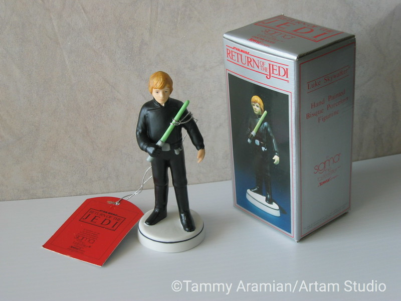 "Sigma 1983 5.5"" tall ceramic bisque hand-painted figurine of Luke Skywalker in black Jedi outfit with original hang tag and box. Return of the Jedi branded. Never displayed, no chips or crazing. <br /> $400"