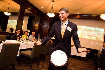 """Dr. Mark Carney of """"Thrivology"""" led participants from the """"5280 PA"""" meeting in a drum circle at del Frisco's Double Eagle Steak House in the Denver Tech Center. His practice centers around the whole person, which includes emotional and spirirtua health as well as physical.    ©2015 Rob Clement 