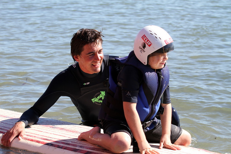 Greg Long introduces McKenzie to surfing!
