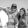 US Open of Surfing 2012, Day 7 - Life Rolls On Expression Session - Aryn Farris meets a fan on the sand