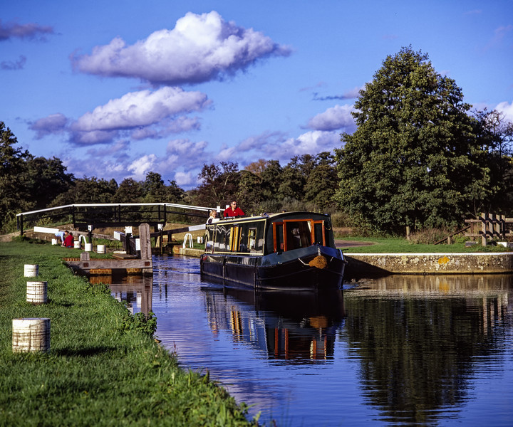 """Narrowboat """"Weyward Girl"""" at St Catherine's Lock, Guildford, on 1st November 2005. Scanned Transparency."""