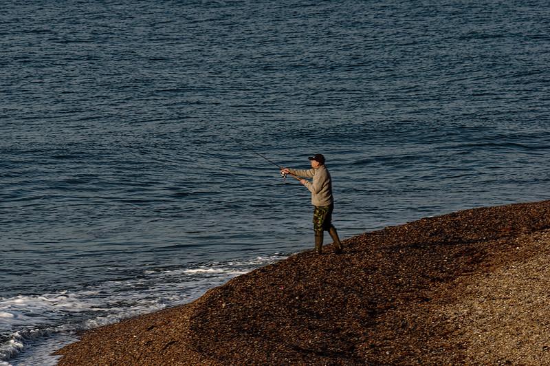Fishing on Seaton Beach, 29th September 2015.