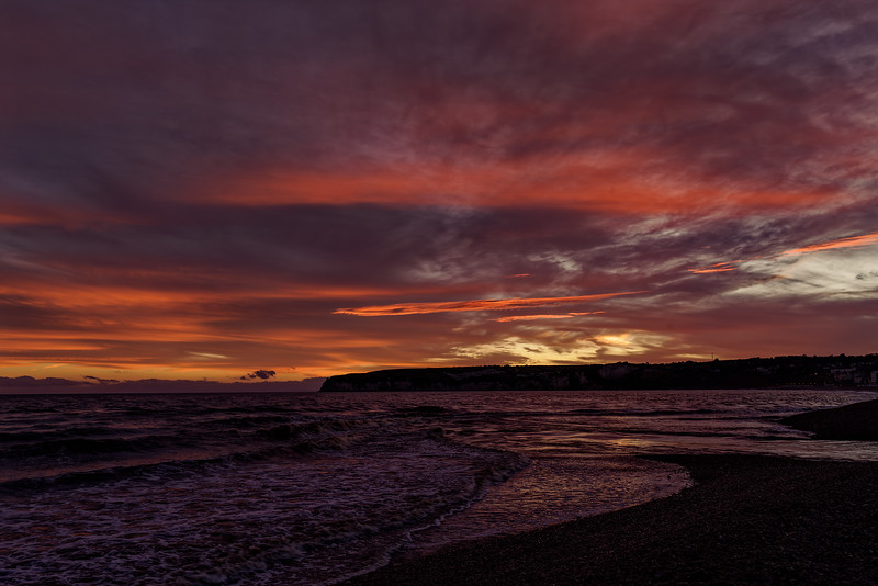 Sunset over Seaton Bay and Beer Head, 1st October 2017.
