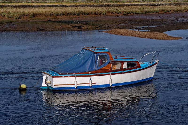 """Bluefin"" moored on the Axe Estuary, 7th October 2018."