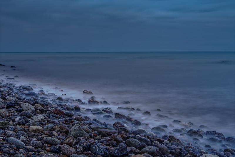 Long exposure of Seaton Bay at dusk, 7th October 2016.
