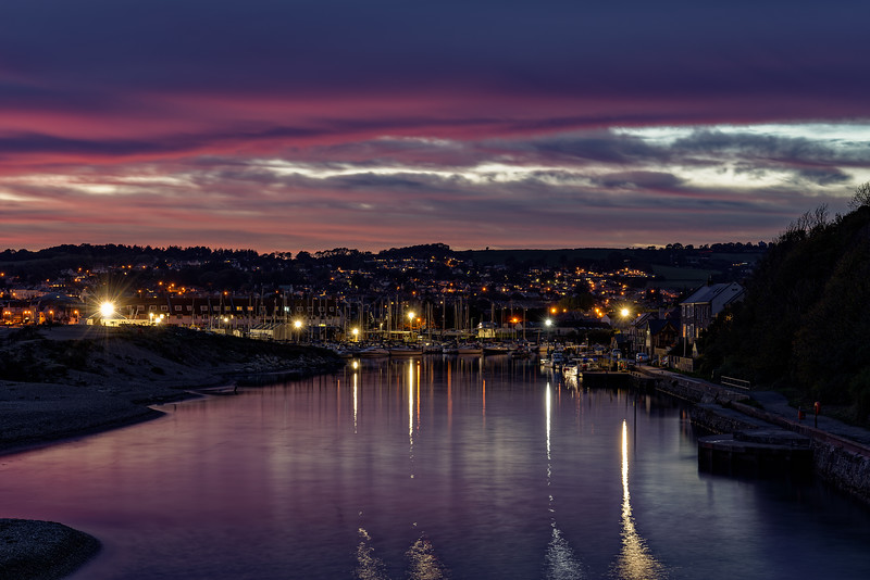The setting sun over Axmouth Harbour, 7th October 2018.