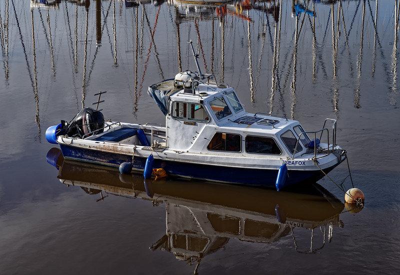 """""""Seafox"""" moored in Axmouth Harbour, 2nd October 2017."""