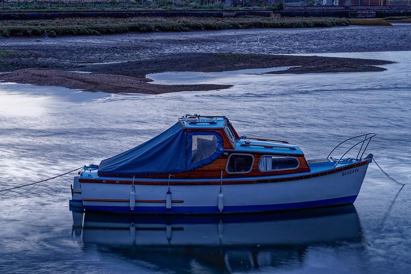 """Bluefin"" moored on the Axe Estuary, 30th September 2018."