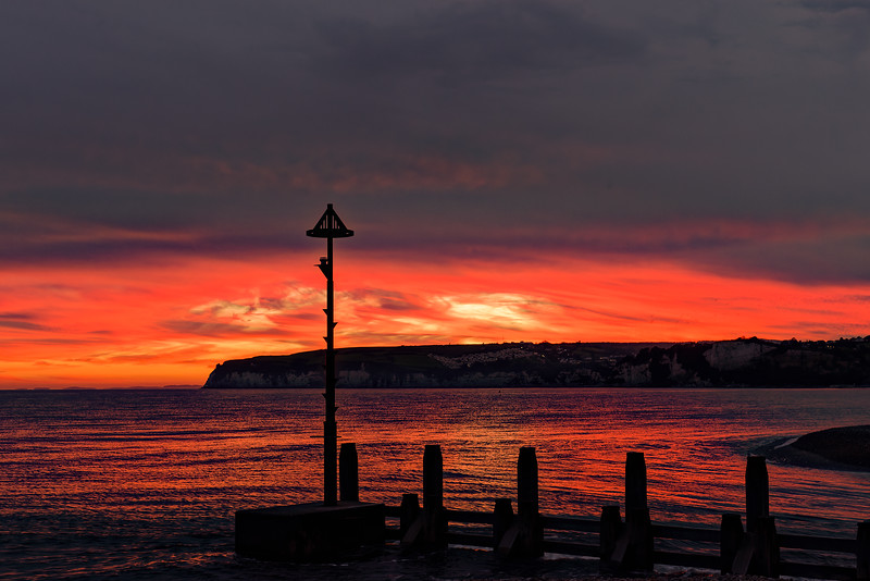 Sunset over Seaton Bay and Beer Head, 6th October 2017.