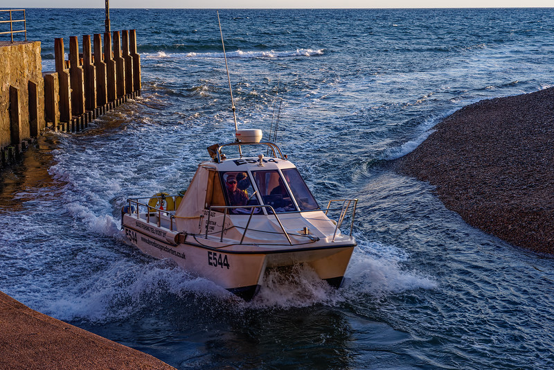 """Fishing Boat """"Outcast II"""" heading back in through Axmouth Harbour entrance, 3rd October 2016."""